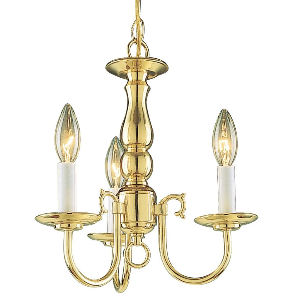 Volume Lighting 3-Light Solid Polished Brass Chandelier