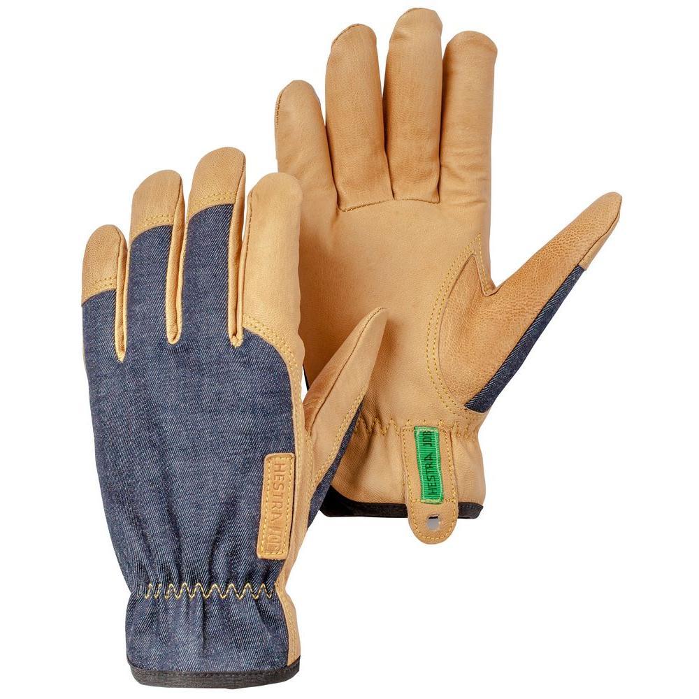 HESTRA JOB Kobolt Denim Size X-Large 10 Goatskin Leather, Denim Blue