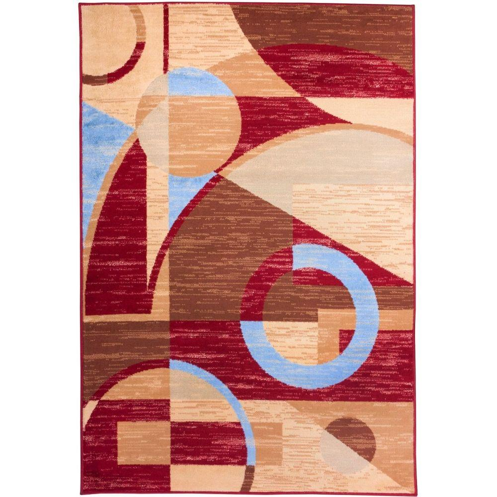 Well Woven Miami Riga Circles Modern Geometric Red 8 ft. 2 in. x 9 ft. 10 in. Area Rug