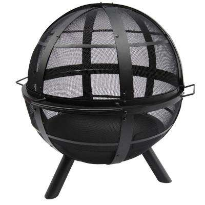Ball of Fire 34 in. x 32.75 in. x 34.75 in. Round Steel Wood Burning Fire Pit in Black