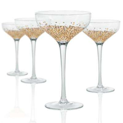 10 oz. Champagne/Desert Coupe Glass with a Gold and Silver Confetti Decoration (Set of 4)