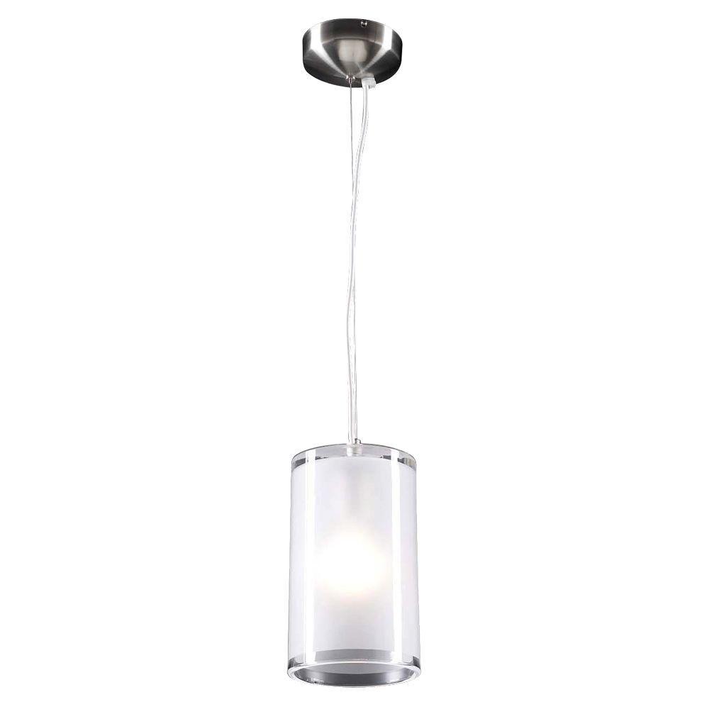 PLC Lighting 1-Light Satin Nickel Mini Drop Pendant with Frost Glass  sc 1 st  The Home Depot & PLC Lighting 1-Light Satin Nickel Mini Drop Pendant with Frost ... azcodes.com