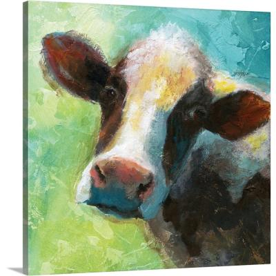 """Colorful Quirky Cow"" by Nan F Canvas Wall Art"