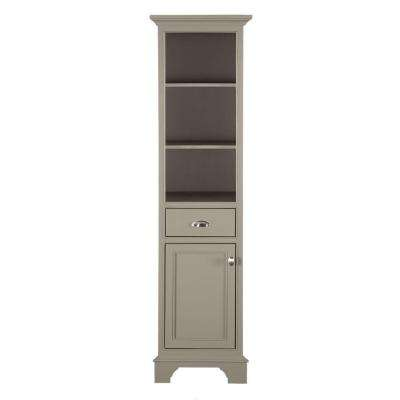Hayward 18 in. W x 14 in. D x 67-1/2 in. H Bathroom Linen Storage Floor Cabinet in Warm Grey