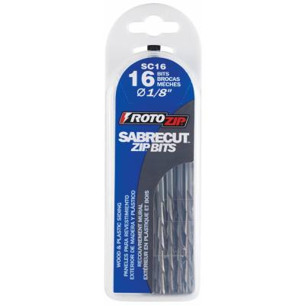 1/8 in. Sabrecut Rotary Tool ZipBit for Wood, Vinyl Siding, Fiberglass, and Plastic Siding (16-Pack)