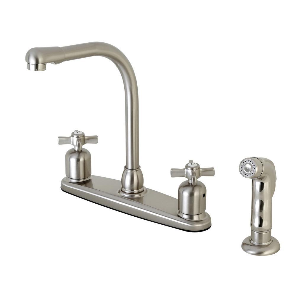 Kingston Brass Modern Cross 2-Handle High Arc Standard Kitchen Faucet With Side Sprayer In Satin