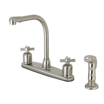 Modern Cross 2-Handle High Arc Standard Kitchen Faucet with Side Sprayer in Satin Nickel