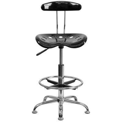 Vibrant Black and Chrome Drafting Stool with Tractor Seat