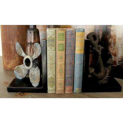 Rustic Gray Anchor and Propeller Bookends (Set of 2)