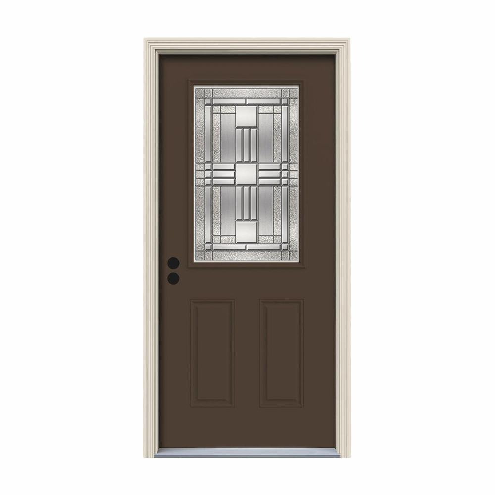 JELD-WEN 32 in. x 80 in. 1/2 Lite Cordova Dark Chocolate Painted Steel Prehung Right-Hand Inswing Front Door w/Brickmould