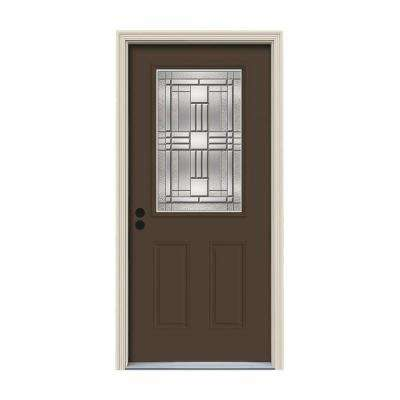 32 in. x 80 in. 1/2 Lite Cordova Dark Chocolate Painted Steel Prehung Right-Hand Inswing Front Door w/Brickmould
