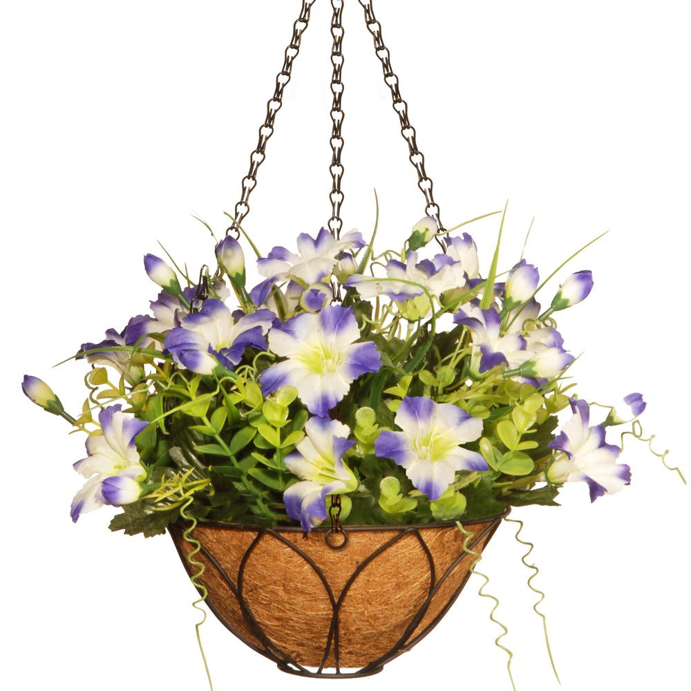 National Tree Company 13 In Petunia Hanging Basket RAS WD016T08B The Home Depot