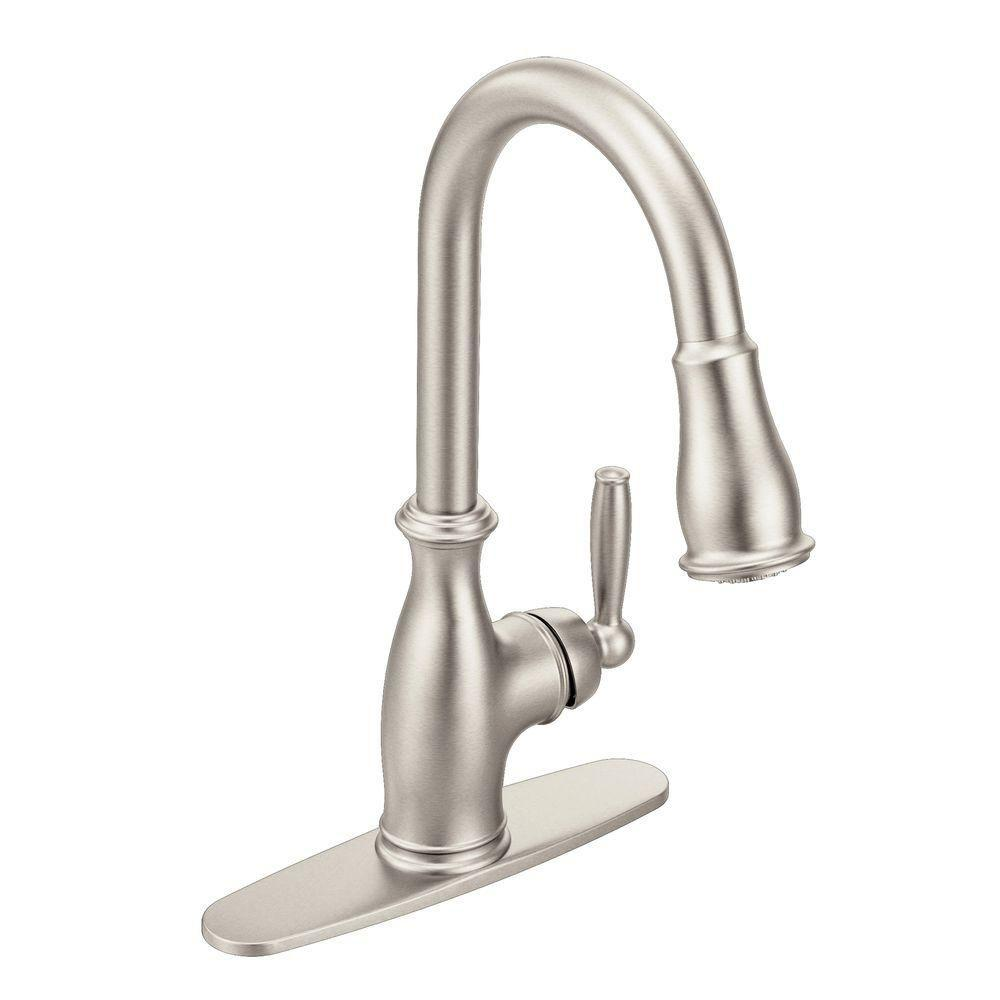 MOEN Brantford Single-Handle Pull-Down Sprayer Kitchen Faucet with Power  Boost in Spot Resist Stainless