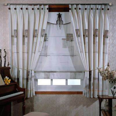 48 in. x 84 in. Telescoping 3/4 in. Single Curtain Rod in Nickel with Shell Tile Finial