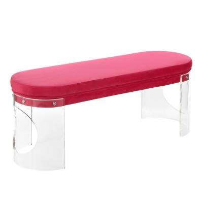 Clarity Hot Pink Velvet and Clear Acrylic Bench