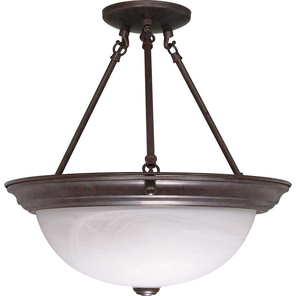 Elektra 3-Light Old Bronze Semi-Flush Mount Light with Alabaster Glass Shade