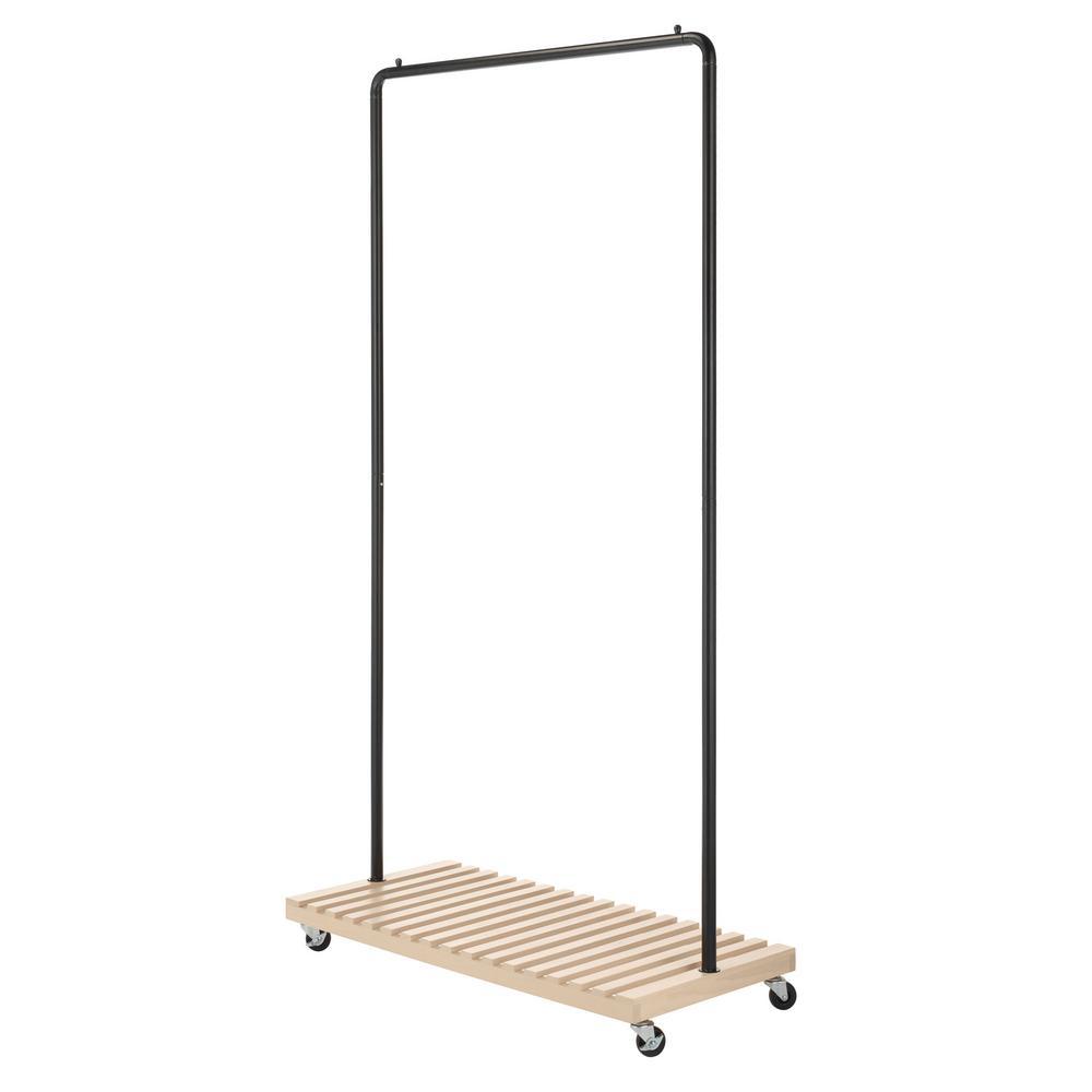 Whitmor slat wood 36 2 in w x 69 2 in h metal garment rack