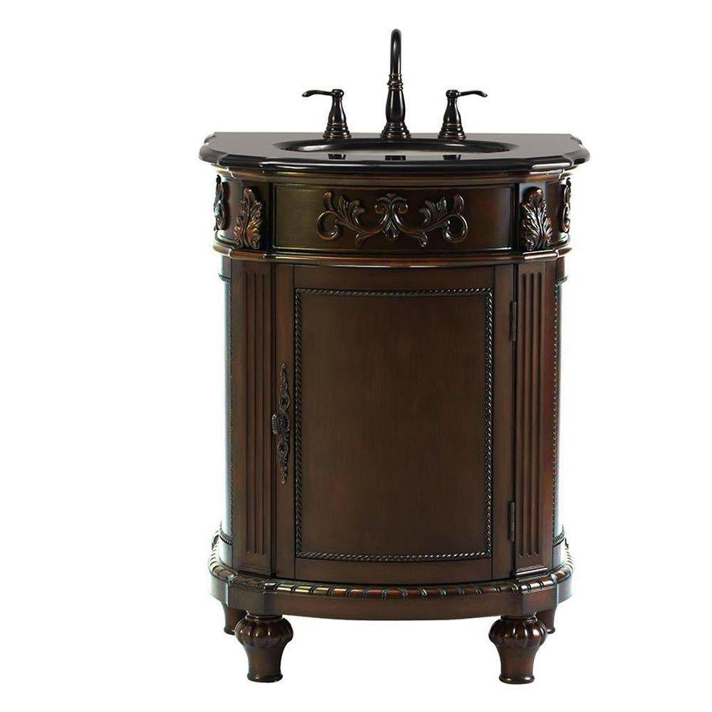 Chelsea 26 in. W Bath Vanity in Antique Cherry with Granite Vanity Top in Black