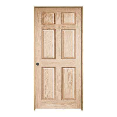 30 in. x 80 in. Oak Clear Lacquered Right-Hand 6-Panel Wood Single Prehung Interior Door