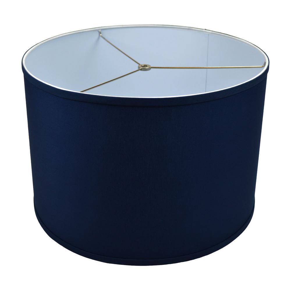 Fenchel Shades 18 in. Top Diameter x 18 in. Bottom Diameter x 12 in. Height Drum Lamp Shade - Linen Navy Blue