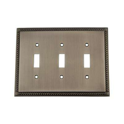 Rope Switch Plate with Triple Toggle in Antique Pewter