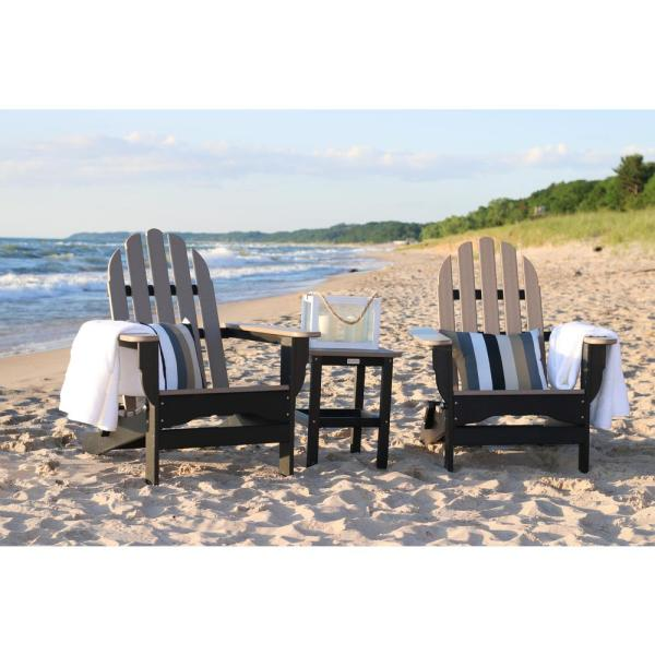 Icon Black and Weathered Wood Recycled Plastic Folding Adirondack Chair with Side Table (2-Pack)