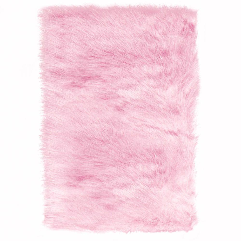 Home Decorators Collection Faux Sheepskin Pink 4 Ft. X 6