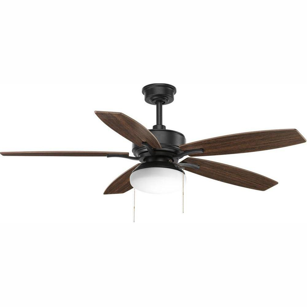 Progress Lighting Billows Collection 52 in. LED Indoor Forged Black Classic Ceiling Fan with Light Kit