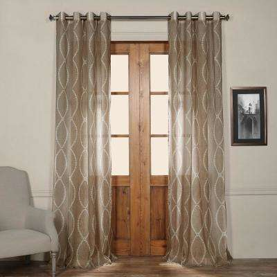 Grecian Grommet Printed Sheer Curtain in Taupe Tan - 50 in. W x 108 in. L