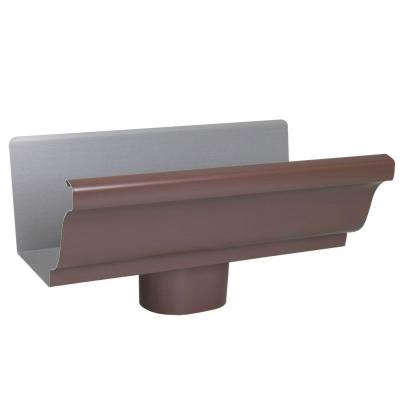5 in. x 0.5 ft. Brown Aluminum Gutter End with Outlet