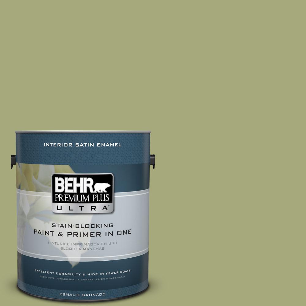 BEHR Premium Plus Ultra 1-gal. #M350-5 Mossy Cavern Satin Enamel Interior Paint