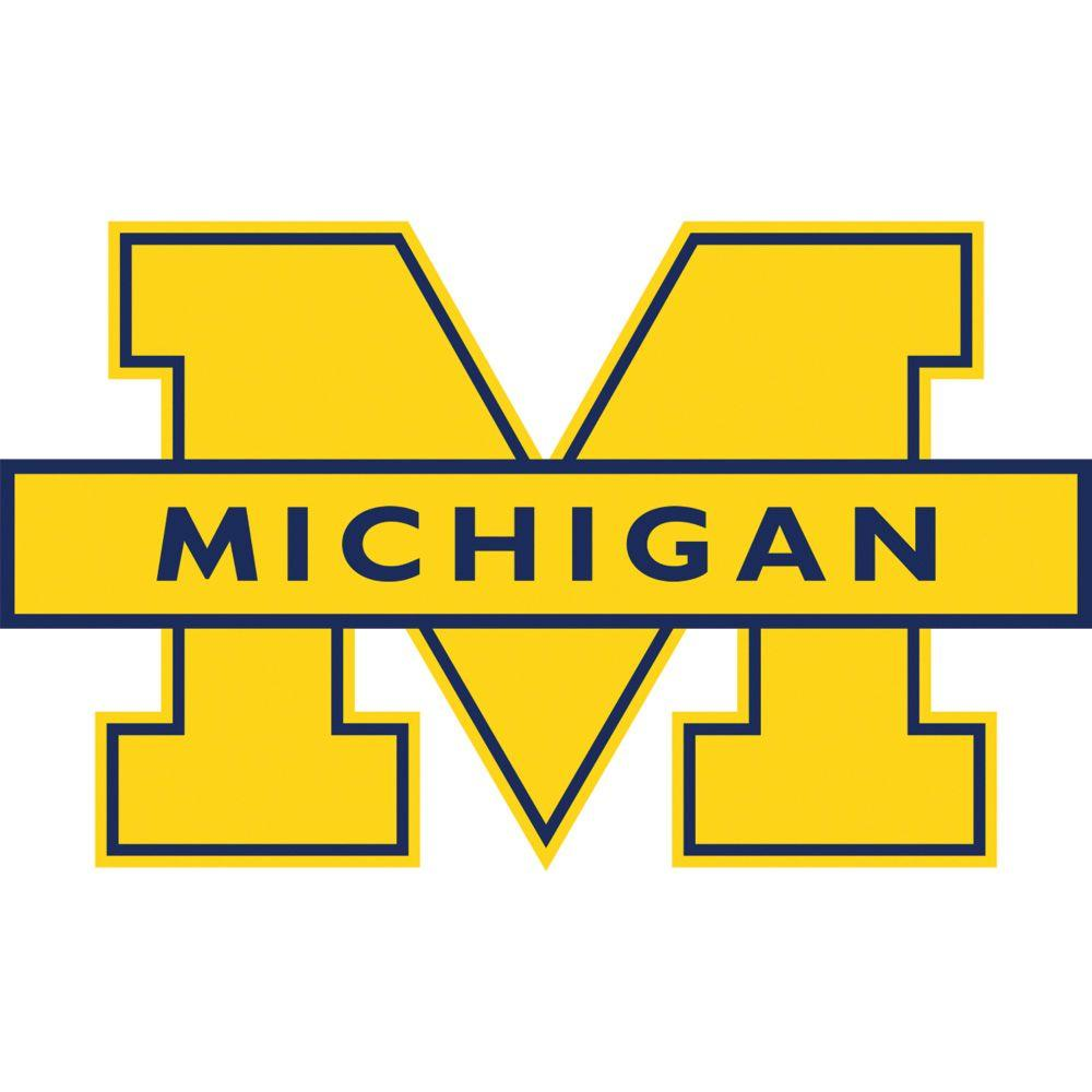 Fathead 52 in. x 30 in. Michigan Wolverines Logo Wall Appliqu-FH61 ...