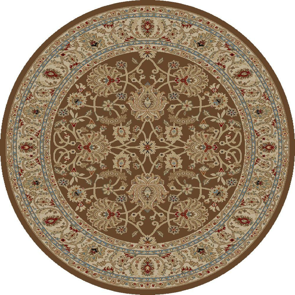 concord global trading ankara mahal brown 7 ft 10 in round area rug 65589 the home depot. Black Bedroom Furniture Sets. Home Design Ideas