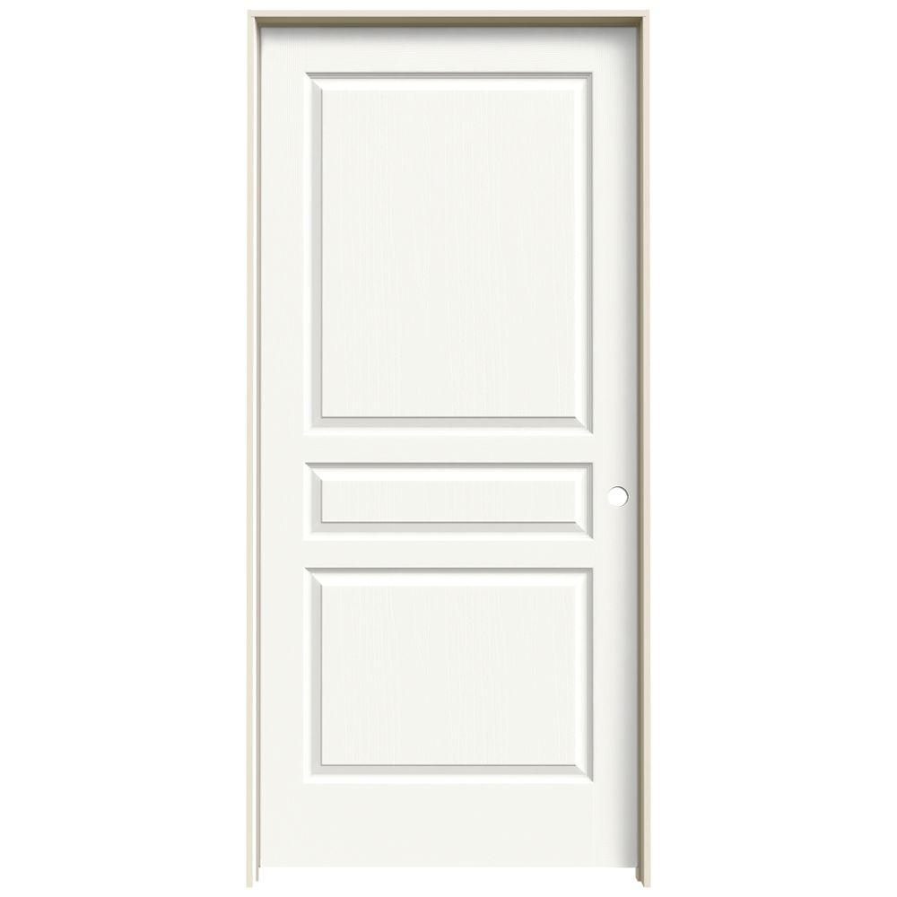 36 in. x 80 in. Avalon White Painted Left-Hand Textured Hollow
