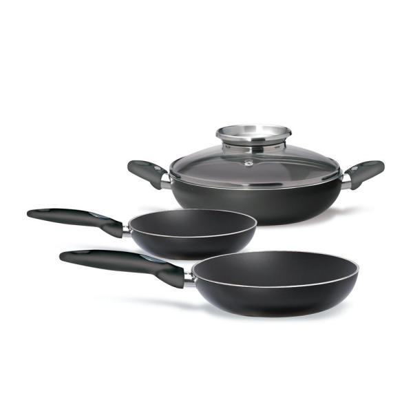 Platino 4-Piece Aluminum Ceramic Nonstick Skillet Set in Black