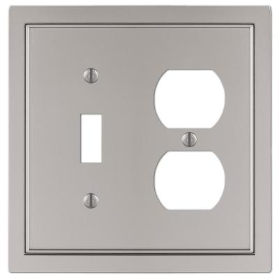 Averly 2 Gang 1-Toggle and 1-Duplex Metal Wall Plate - Satin Nickel