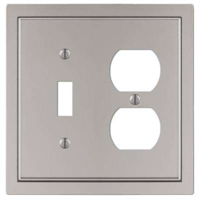 Averly Cast 1-Toggle and 1-Duplex Wall Plate, Satin Nickel