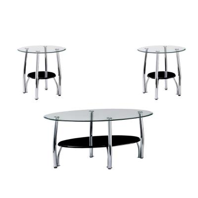 Lysander Black Tempered Glass 3-Piece Table Set