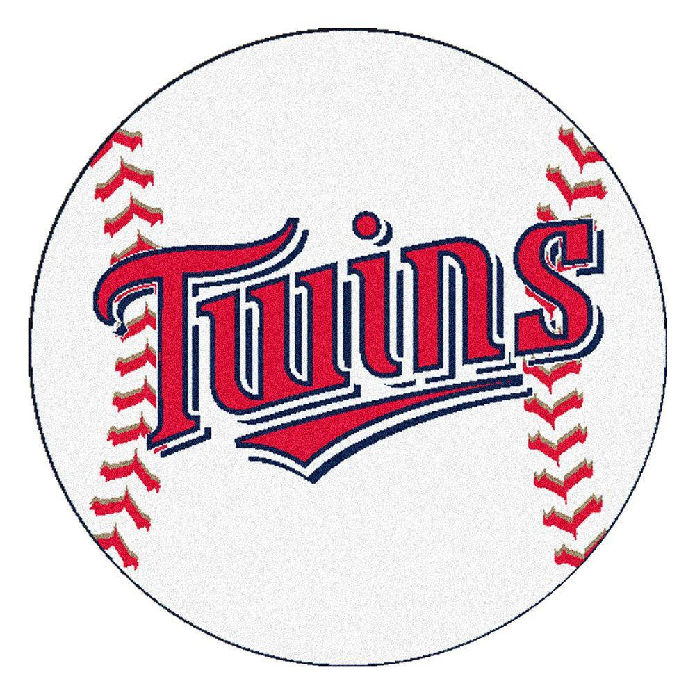 Fanmats Mlb Minnesota Twins White 2 Ft X Round Area Rug