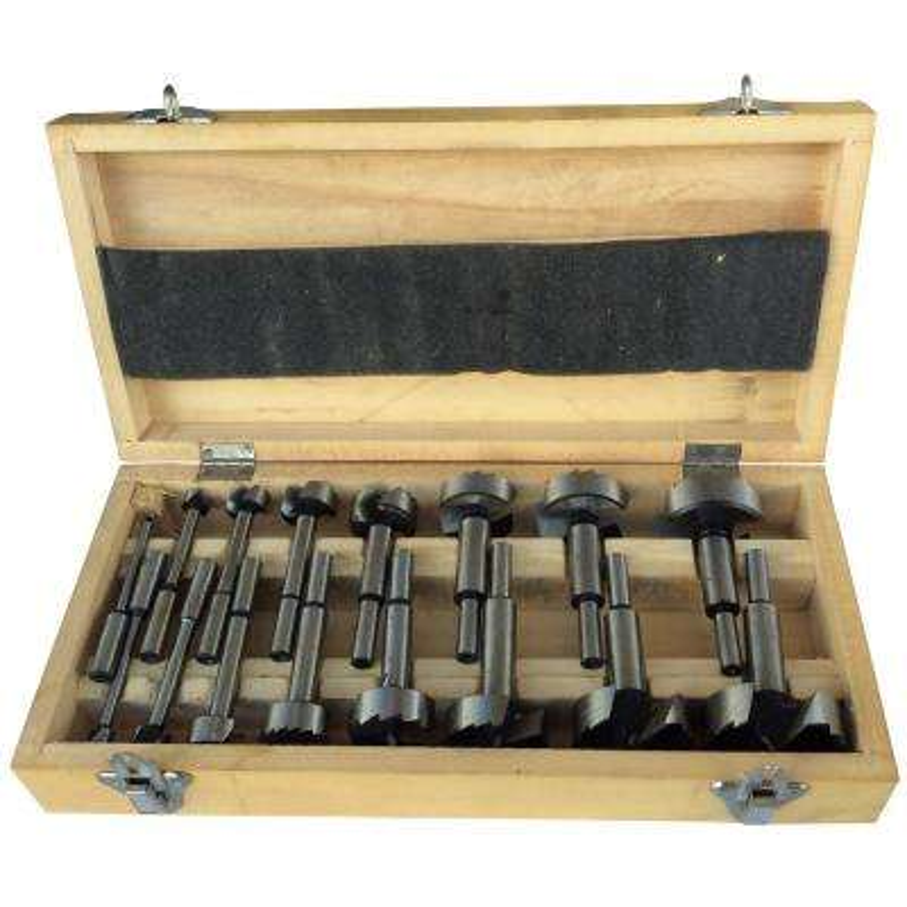 Forstner Carbon Drill Bit Set in Wood Case (16-Pieces)