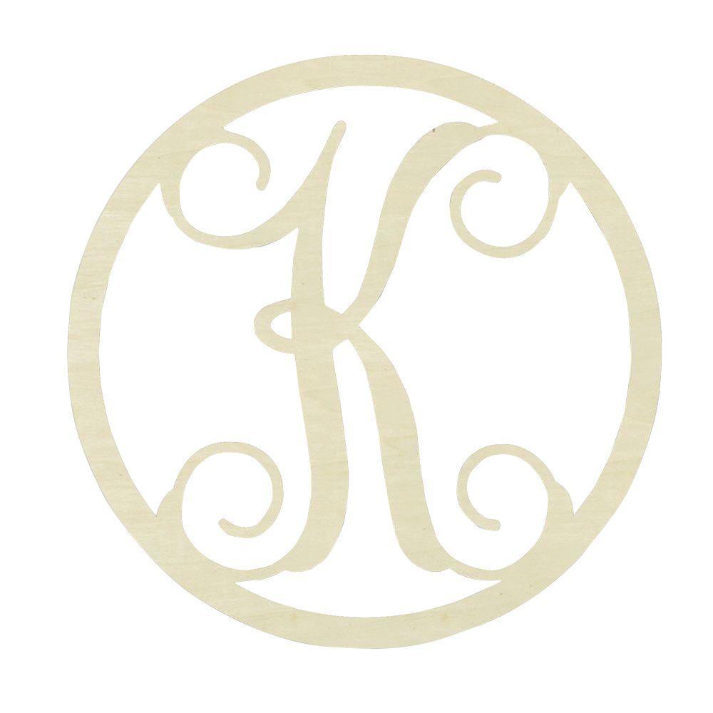 Jeff McWilliams Designs 19 In Unfinished Single Circle Monogram K