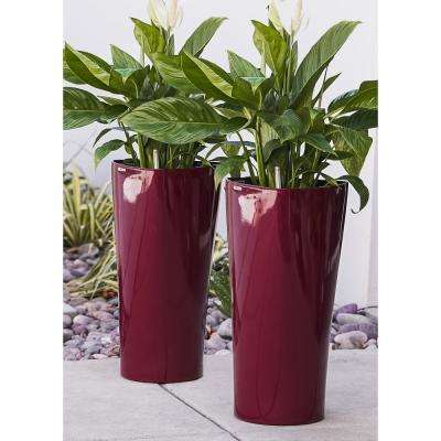 Xbrand 22 in. Tall Red Plastic Nested Self Watering Indoor/Outdoor Triangle Planter Pot with Glossy Finish