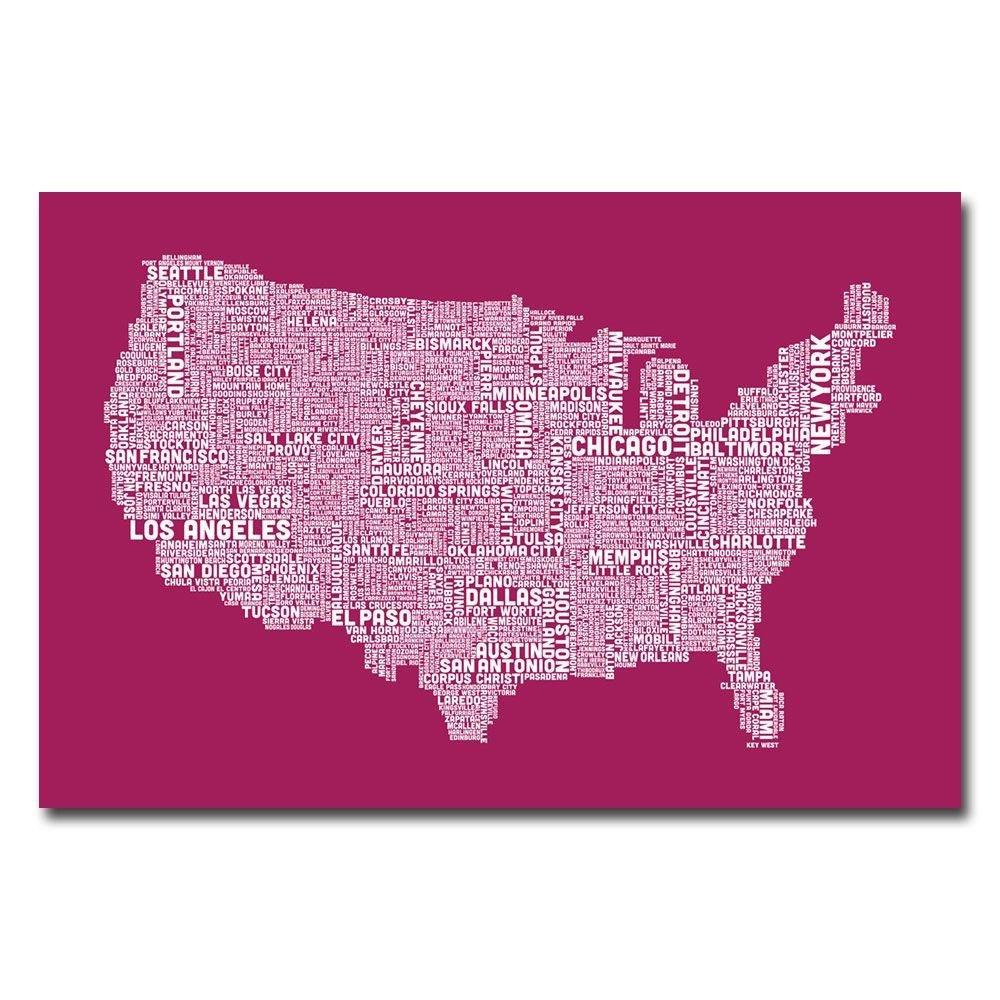 null 22 in. x 32 in. US City Map X Canvas Art