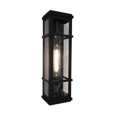 1-Light Black Outdoor Wall Mount Sconce