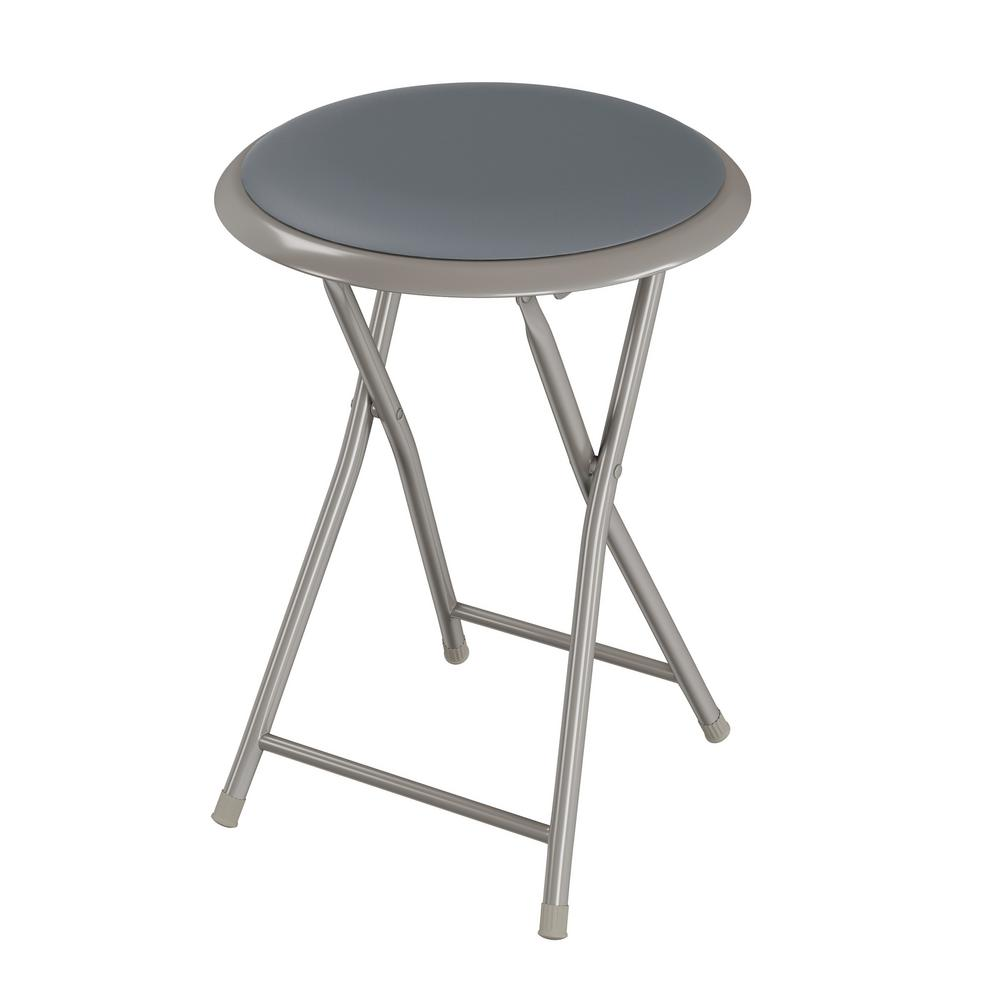 Groovy Trademark Home 18 In Gray Round Metal Heavy Duty Padded Folding Bar Stool Pabps2019 Chair Design Images Pabps2019Com