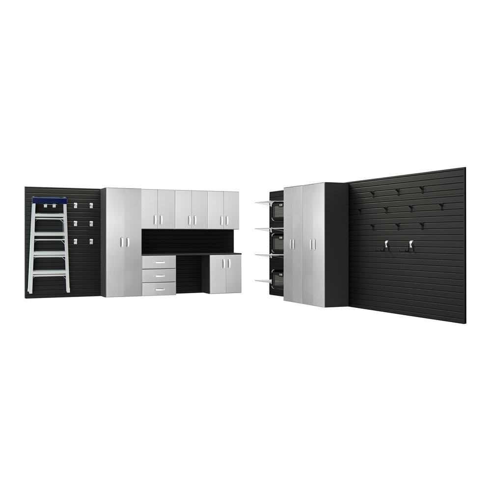 Flow Wall Modular Mounted Garage Cabinet Storage Set With Workstation In Black Platinum Carbon
