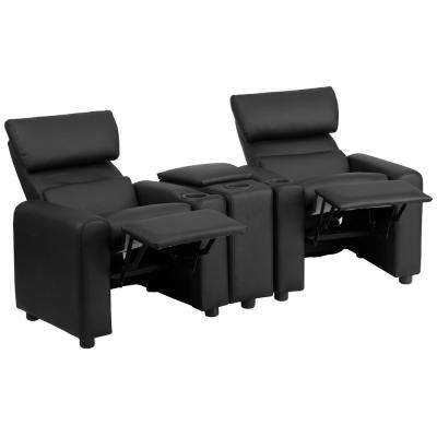Kid's Black Leather Reclining Theater Seating with Storage Console