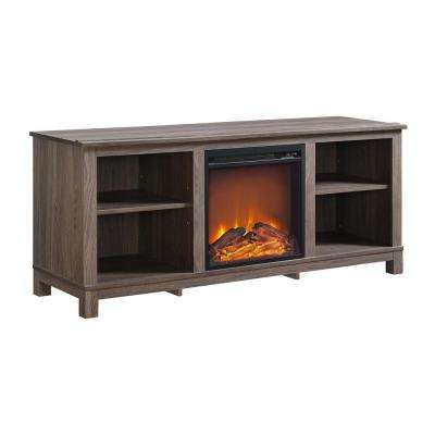Domingo Distressed Brown Oak TV Console with Fireplace