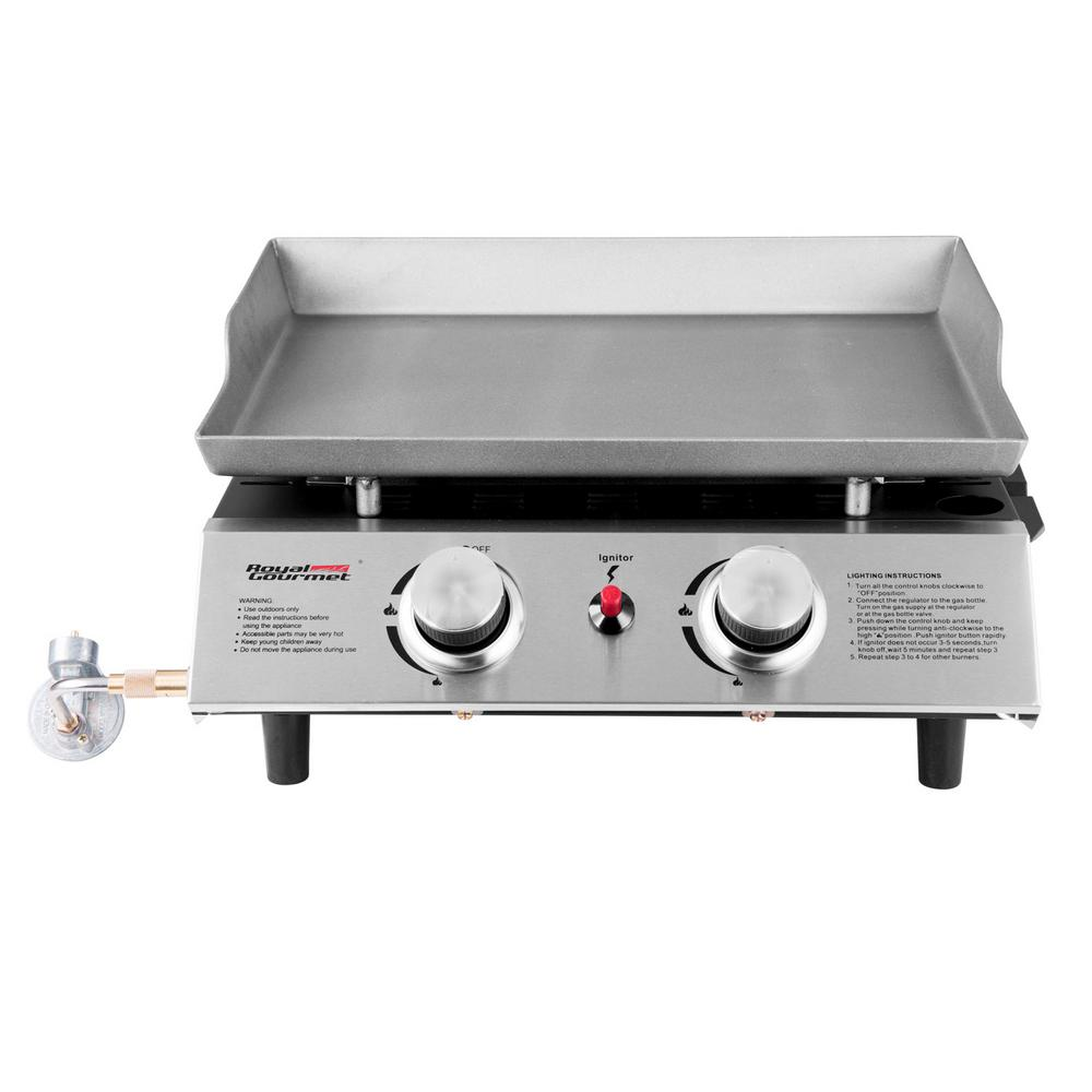 18in. Table Top 2-Burner Propane Gas Grill in Stainless-Steel with Griddle