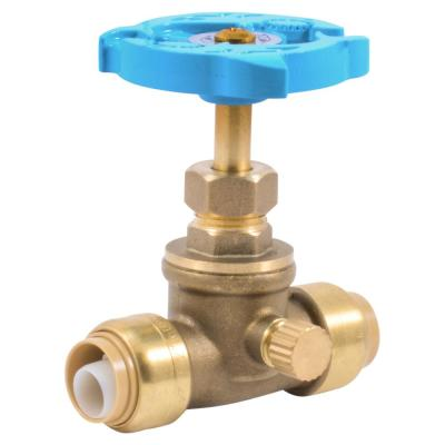 1/2 in. Push-to-Connect Brass Stop Valve with Drain